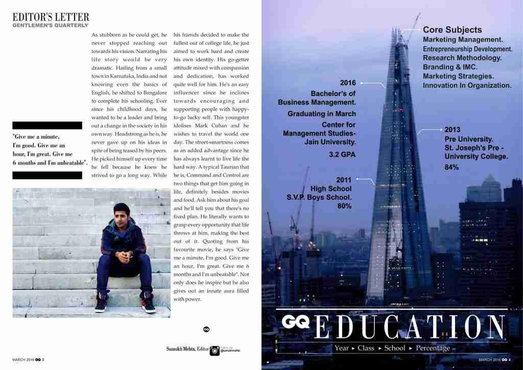 Sumukh Mehta CV Opleiding op cv in de vorm van GQ magazine - Werk ze!